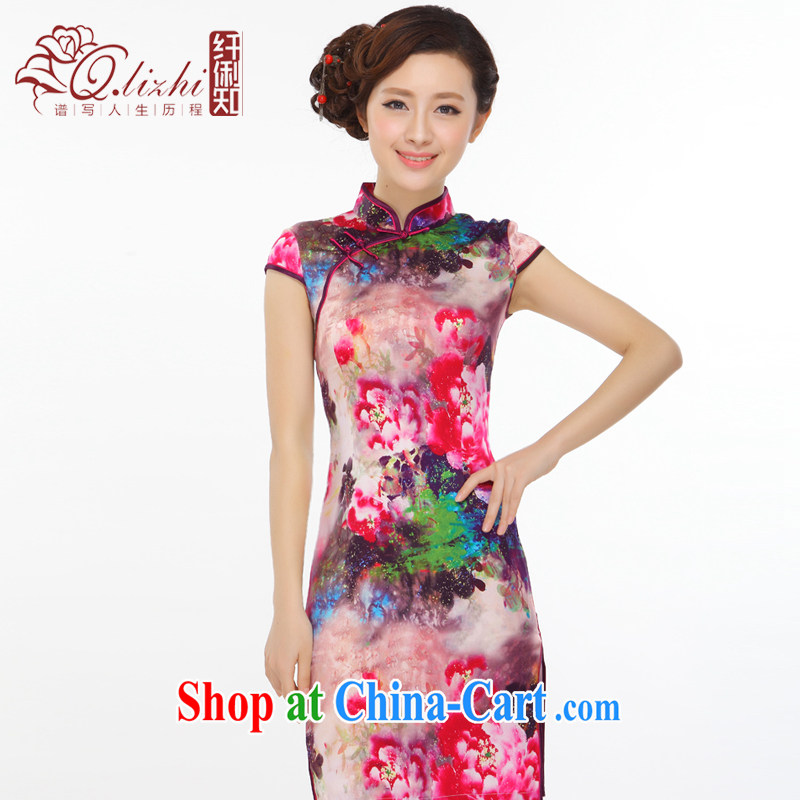 Slim li know summer 2015 new Peony lady retro beauty heavy silk stylish improved short cheongsam dress Q 403 - 6 picture color XXL
