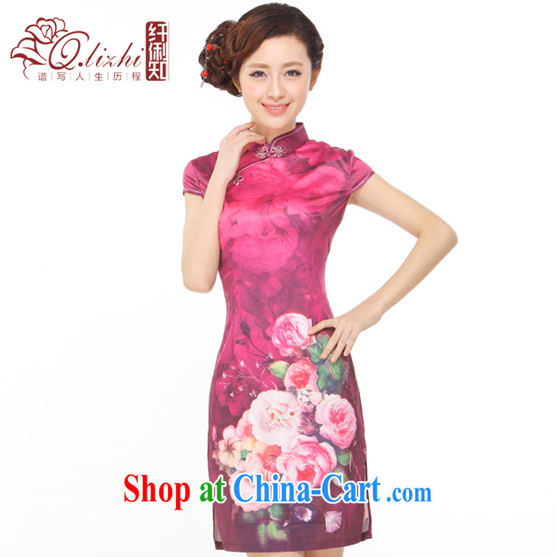 Slim li know summer 2015 new retro improved elegant beauty dresses skirts rich auspicious silk Peony QR - 886 photo color XXL