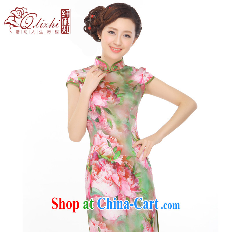 Slim li know Bibo summer 2015 new luxury of Yuan cheongsam dress China wind retro heavy silk Q 0404 - 5 pictures color S