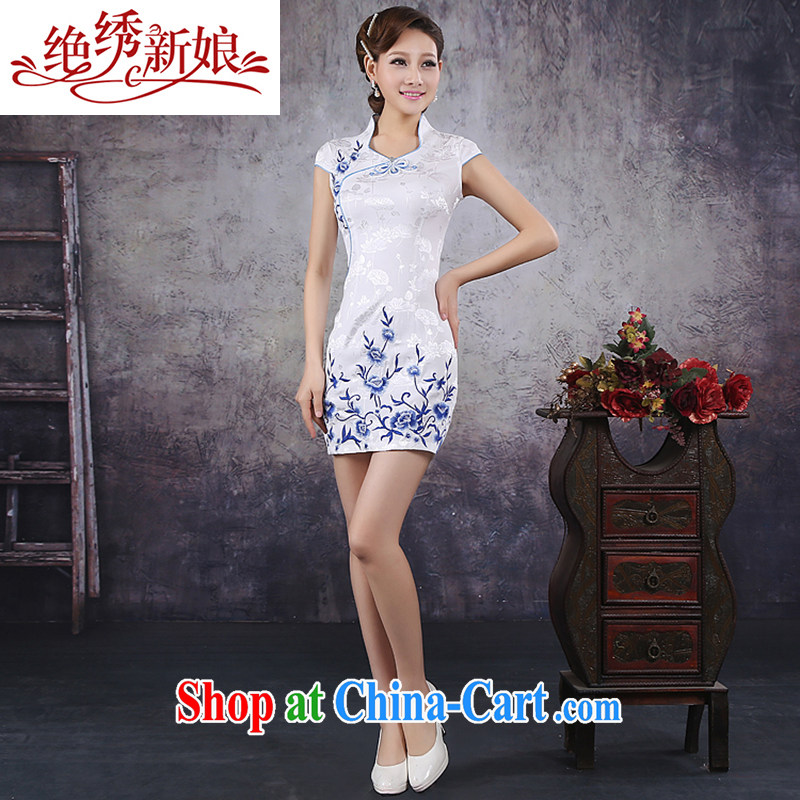 There is embroidery bridal 2015 new women retro improved embroidery Party Style beauty-outfit the truck QP - 350 white M Suzhou shipping