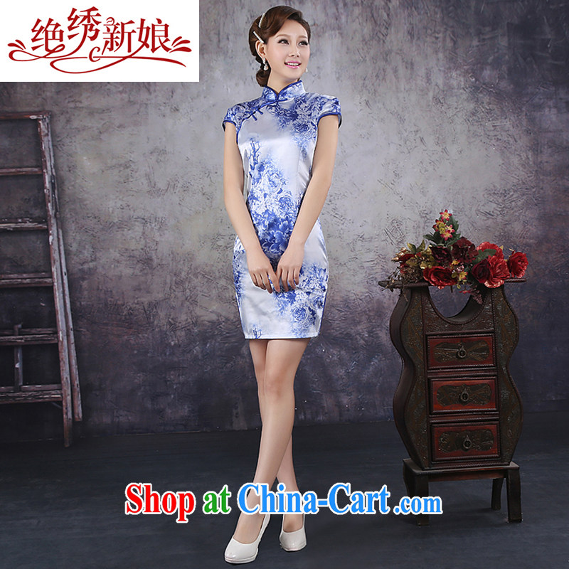 There is embroidery bridal 2015 spring and summer new stylish China wind bird lovers of elegance short cheongsam dress ice silk material goods QP - 351 blue XXL Suzhou shipping