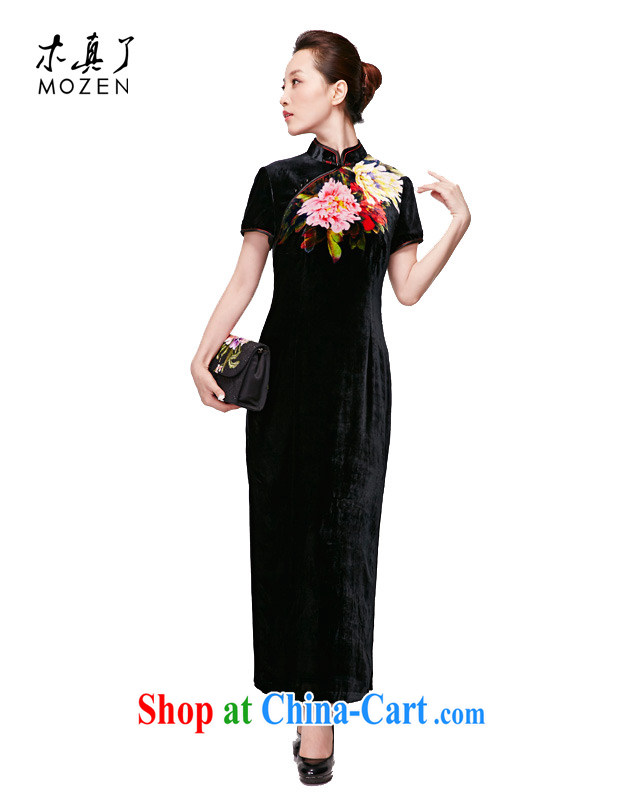 Wood is really the 2015 spring and summer new dresses and elegant original dress Silk is a tight short-sleeved piping package mail 11,498 01 black XXXL