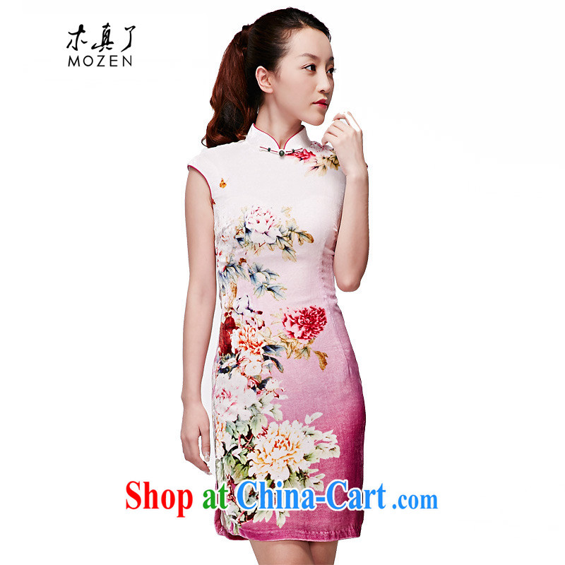 Wood is really the MOZEN 2015 spring and summer new Chinese velvet cheongsam Silk Cheongsam dress skirt package mail 21,850 17 light purple XXXL