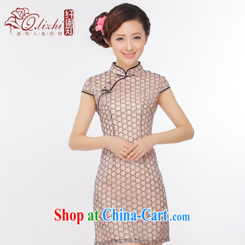 Slim li know summer 2015 New Style lady stylish improved retro beauty short cheongsam dress Q 43,151 picture color XXL