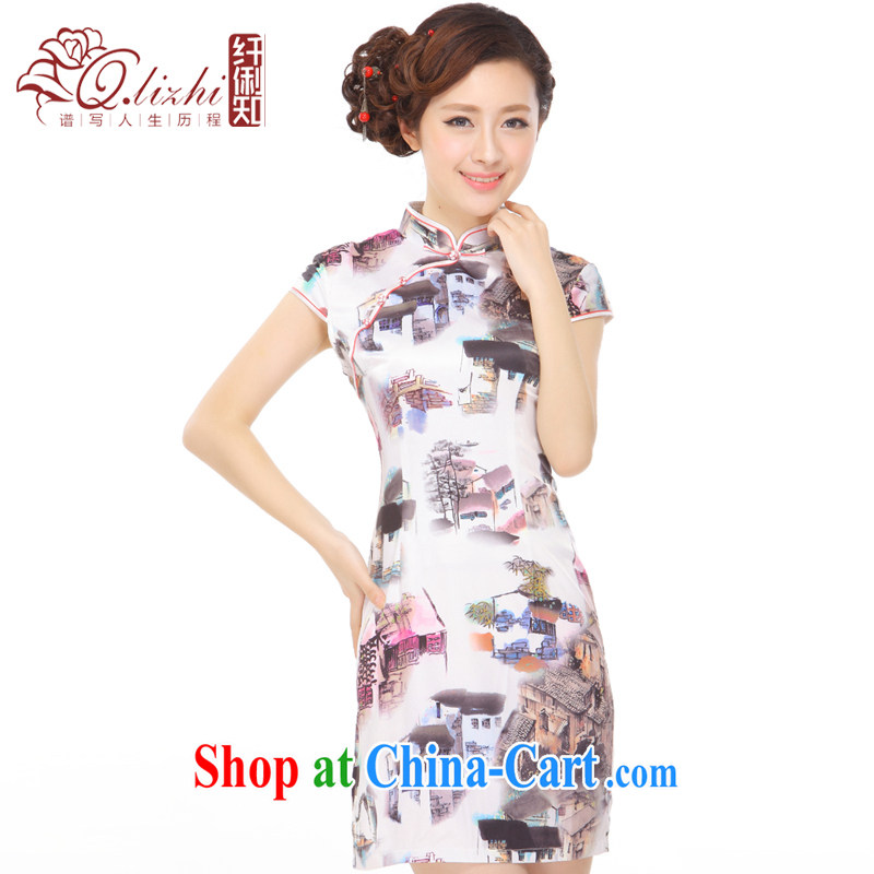 Slim li know summer 2015 new retro beauty painting emulation, stylish and improved short cheongsam dress Q 43,169 picture color XXL