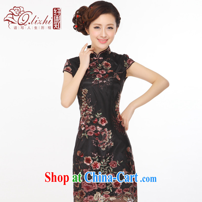 Slim li know summer 2015 New China retro beads, embroidery improved stylish and elegant qipao gown small Q 043,133 mysterious black XXL