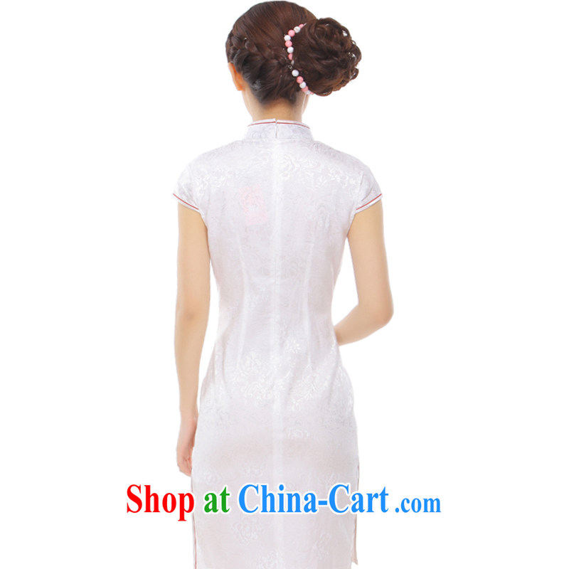 Slim li know that took summer 2015 new retro improved Chinese Embroidery name Yuan Hong Kong Small wind power's cheongsam Q 43,170 Pearl White M, slim Li (Q . LIZHI), shopping on the Internet