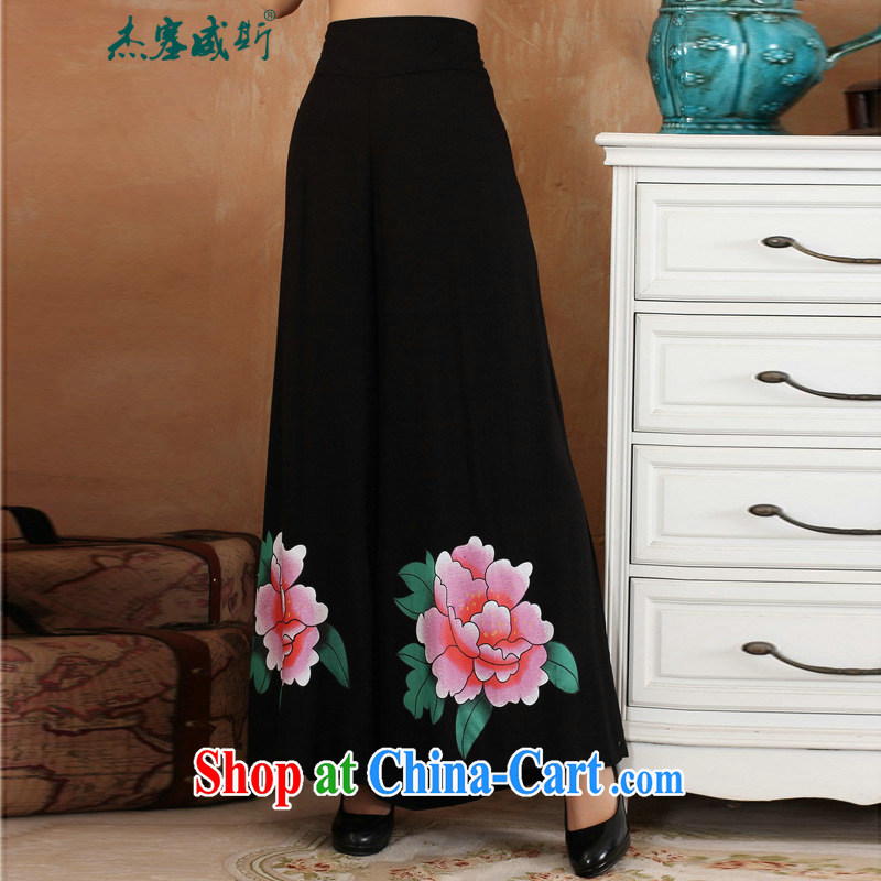 Jessup, 2015 spring and summer female lady 100 ground units the Wide Leg pants and skirts pants casual pants with short pants children 2369 - 4 black XXL