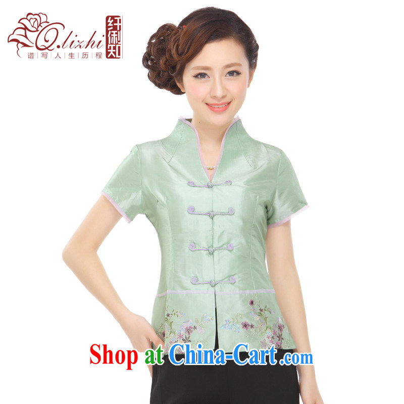 Slim li know that summer 2015 new stylish and improved pearl-embroidered retro Ms. Shen Tang Replace T-shirt Q 72,582 green XXXL