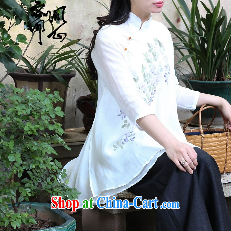 Ask a vegetarian that heart health female spring new Chinese hand-painted the Commission the high-end hand-painted wisteria vines take-back shirt 1696 photo color high-end hand-painted the 7 days L code brassieres 100 CM