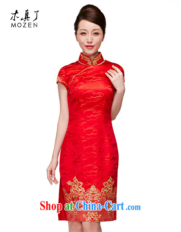 Wood is really the 2015 spring and summer high-end wedding dress silk embroidered short bridal dresses 11,683 04 red XL