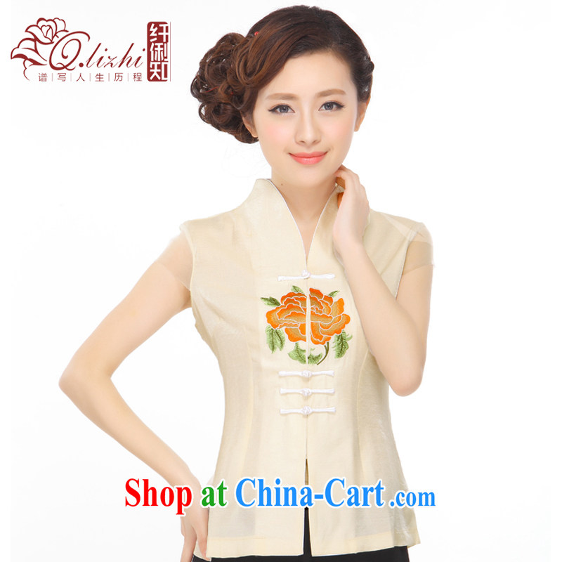 Slim li know summer 2015 new Peony Embroidery is very classy and elegant antique China wind improved Chinese shirt Q 72,481 beige XXXL
