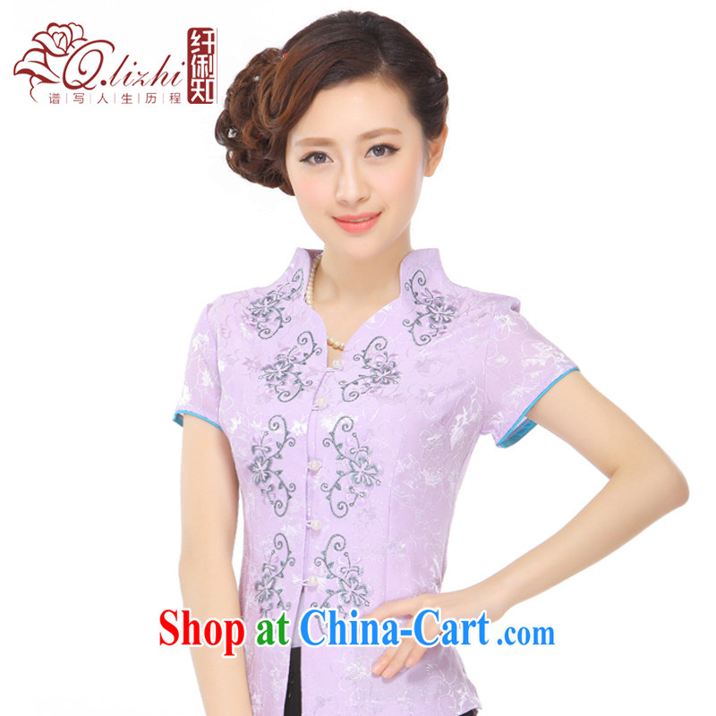 Slim li know summer 2015 new gold thread embroidery style lady stylish improved Chinese T-shirt Q 72,002 light purple XXXL