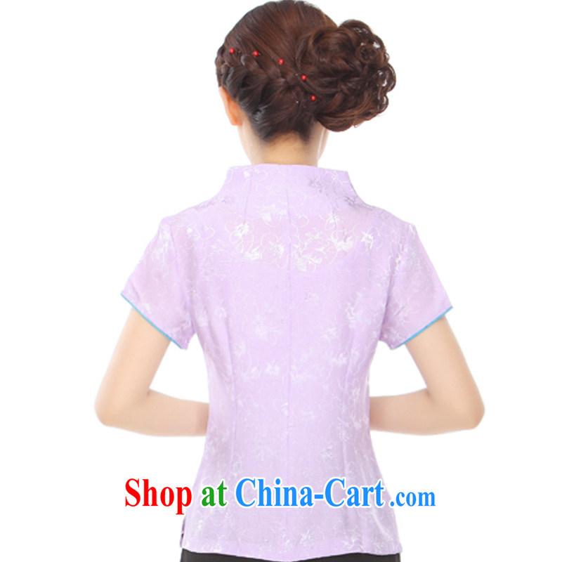 Slim li know summer 2015 new gold thread embroidery style lady stylish improved Chinese T-shirt Q 72,002 light purple XXXL, slim Li (Q . LIZHI), online shopping