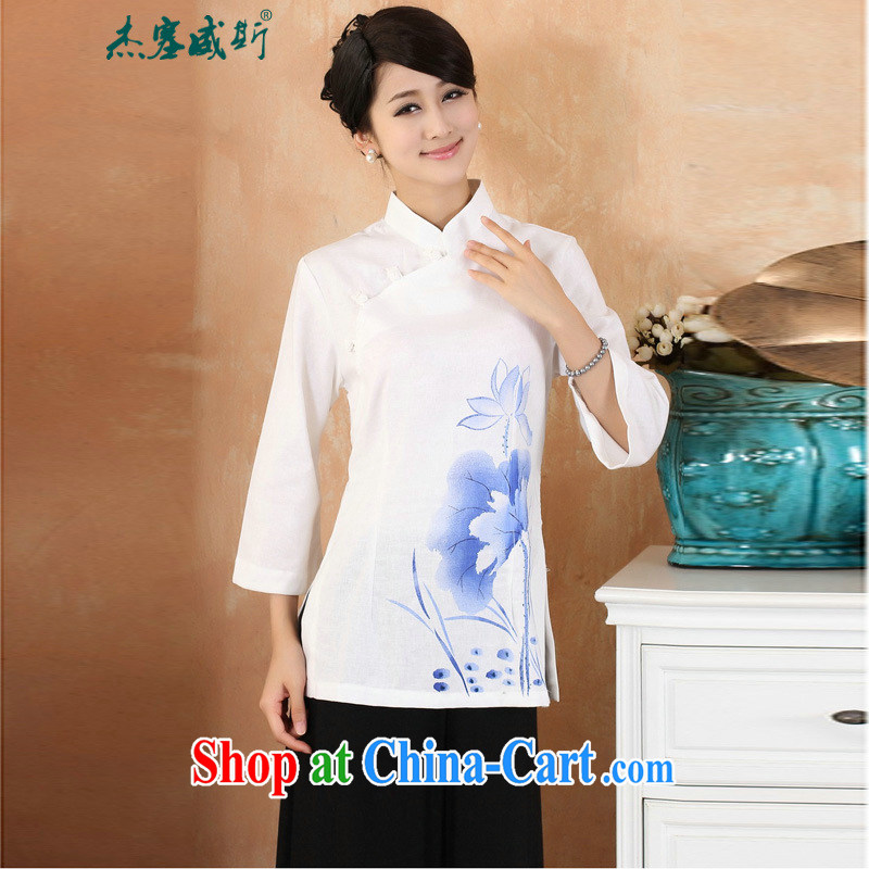 Jessup, 2015 spring and summer cotton the larger Chinese female improved Han-hand painted dresses T-shirt shirt Chinese M 2379 - 2 white XXXL