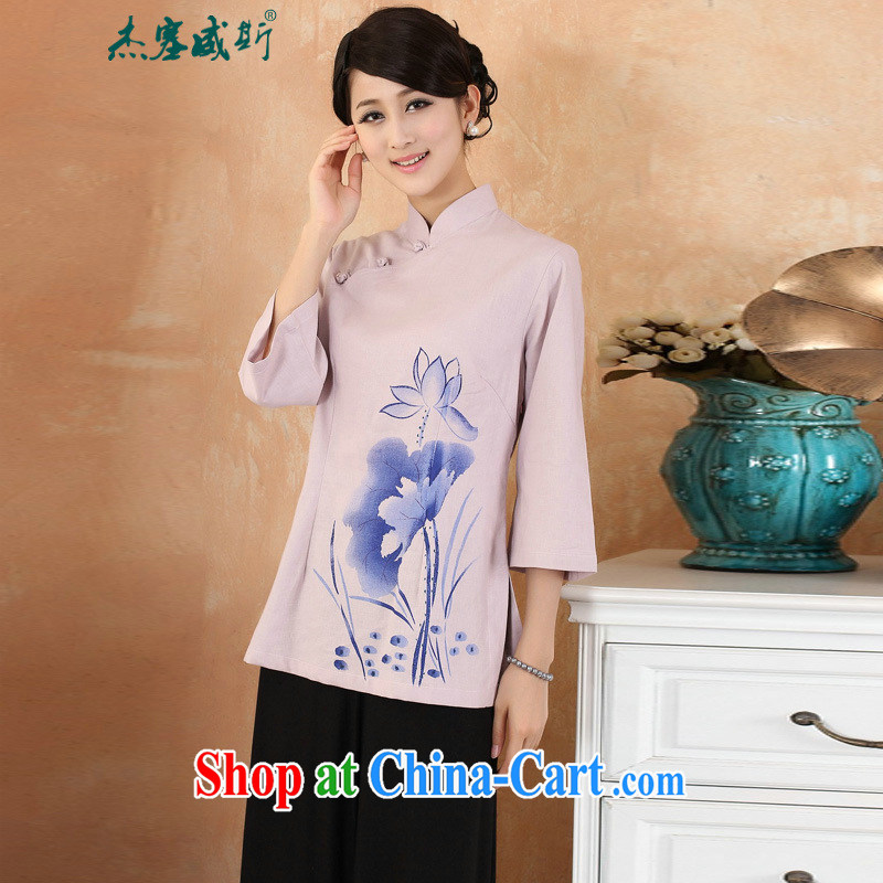 Jessup, 2015 spring and summer new cotton the larger Chinese female improved Han-hand painted dresses T-shirt shirt Chinese M 2379 - 3 purple XXXL