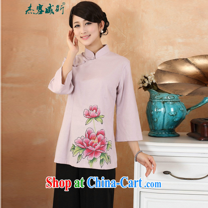Jessup, 2015 spring and summer new cotton the larger Chinese female improved Han-hand painted dresses T-shirt shirt Chinese M 2381 purple XXXL