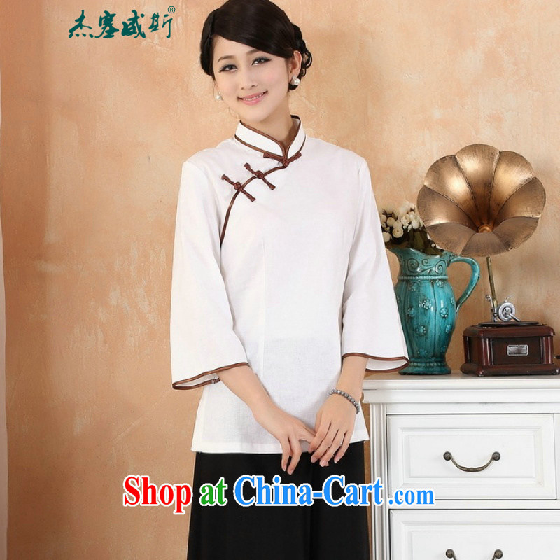Jessup, 2015 spring and summer new cotton the larger Chinese female improved Han-hand painted dresses T-shirt shirt Tang women M 2382 white L