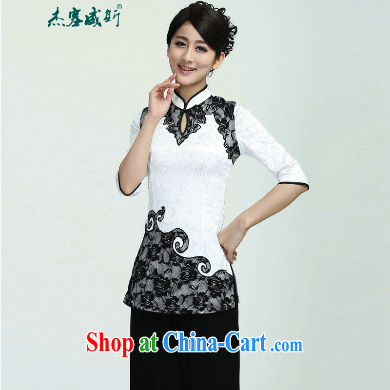 Jessup, 2015 spring and summer new small, mighty, Chinese female improved lace stitching qipao T-shirt shirt Chinese M 2371 white XXL