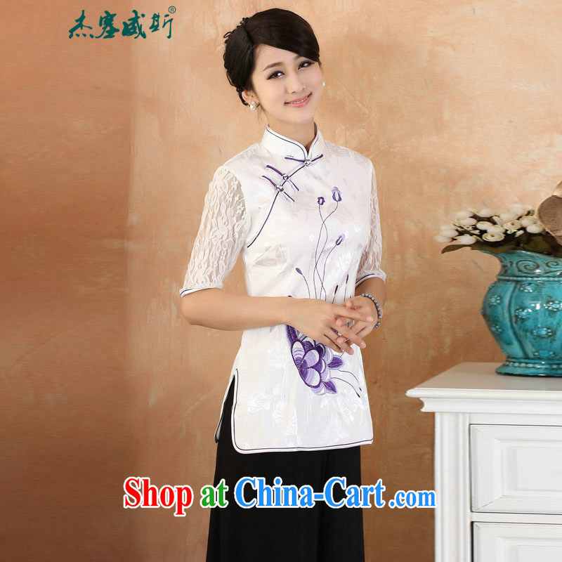Jessup, 2015 spring and summer new Chinese manual tie embroidery lace cuff larger female improved cheongsam shirt shirt Chinese M 2339 purple XXXL
