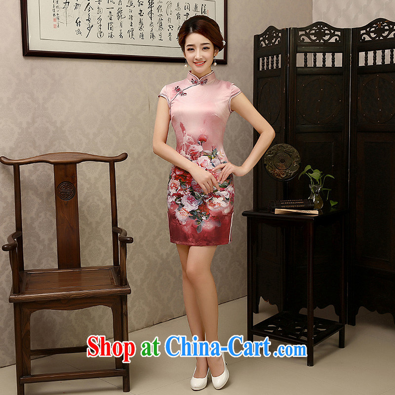 There is embroidery bridal dresses 2015 new Chinese female fashion improved daily floral cheongsam dress XXL Suzhou shipping