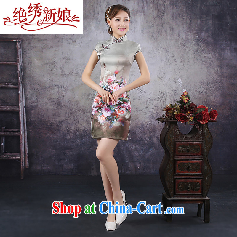 No embroidery bridal 2015 spring new Ice silk improved stylish retro daily short Chinese qipao dress S Suzhou shipping