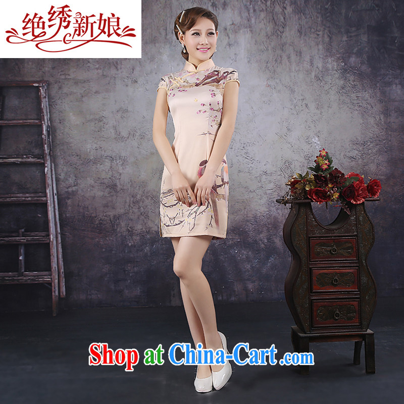 There is embroidery bridal 2015 summer improved stylish short-sleeve cheongsam dress high-end ice silk Silk Cheongsam M Suzhou shipping
