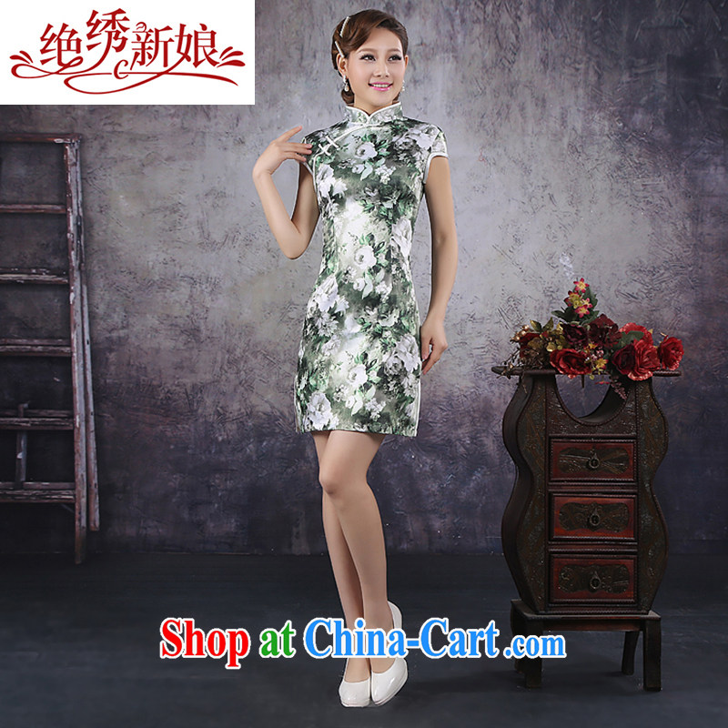 There is embroidery bridal 2014 spring and summer new improved stylish China wind wedding dresses ice Silk Cheongsam QP - 367 M Suzhou shipping