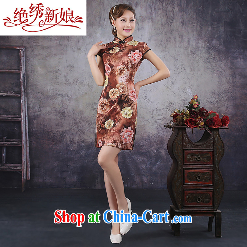 No embroidery bridal 2015 spring new Ice silk improved stylish retro daily short Chinese qipao dress XL Suzhou shipping