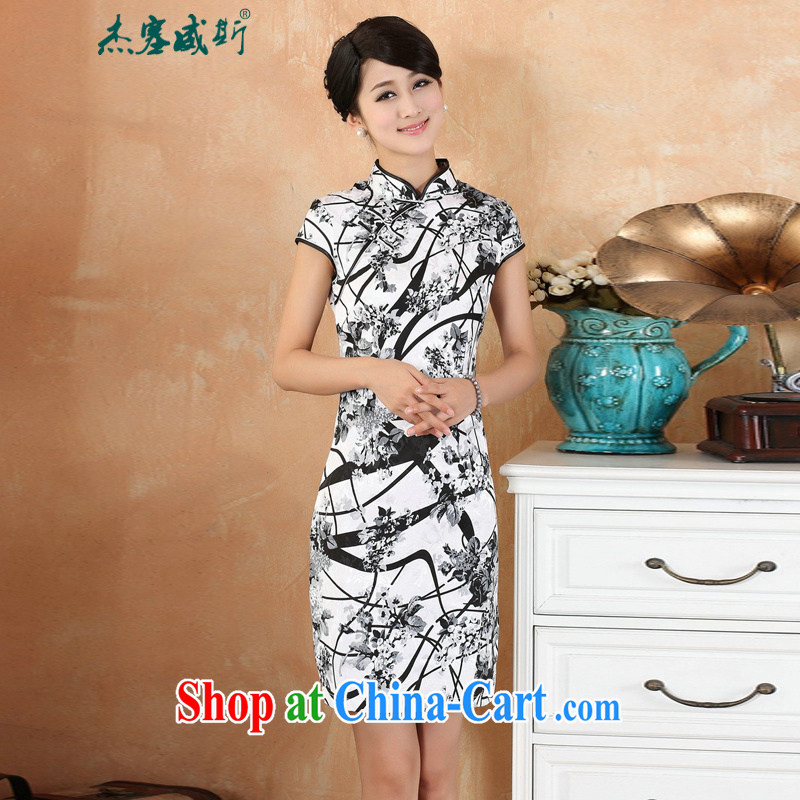 Jessup, 2015 spring and summer women's clothing new retro improved manual tie, for cultivating, dresses qipao M 2328 - 1 white XL