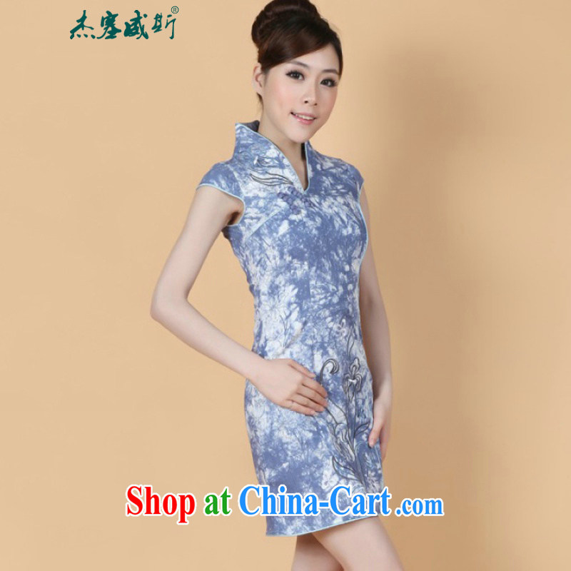 Jessup, 2015 spring and summer women's clothing retro improved embroidered hand-tie short-sleeve and collar dress qipao gown M 2345 3 cowboy blue XL