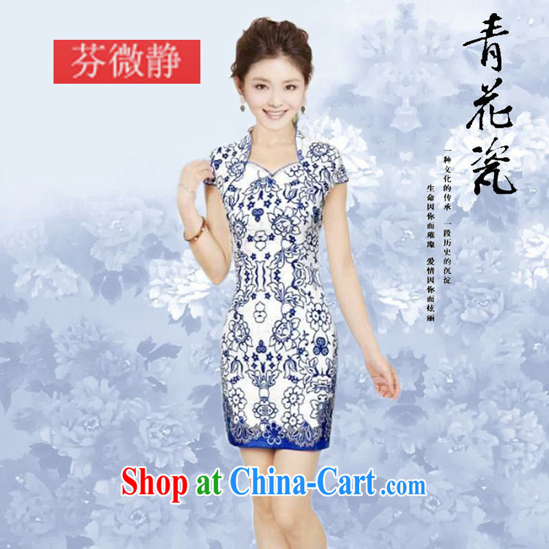 2014 summer new daily retro dynasty blue and white porcelain cheongsam stylish improved elegance cheongsam dress cheongsam blue and white porcelain XL