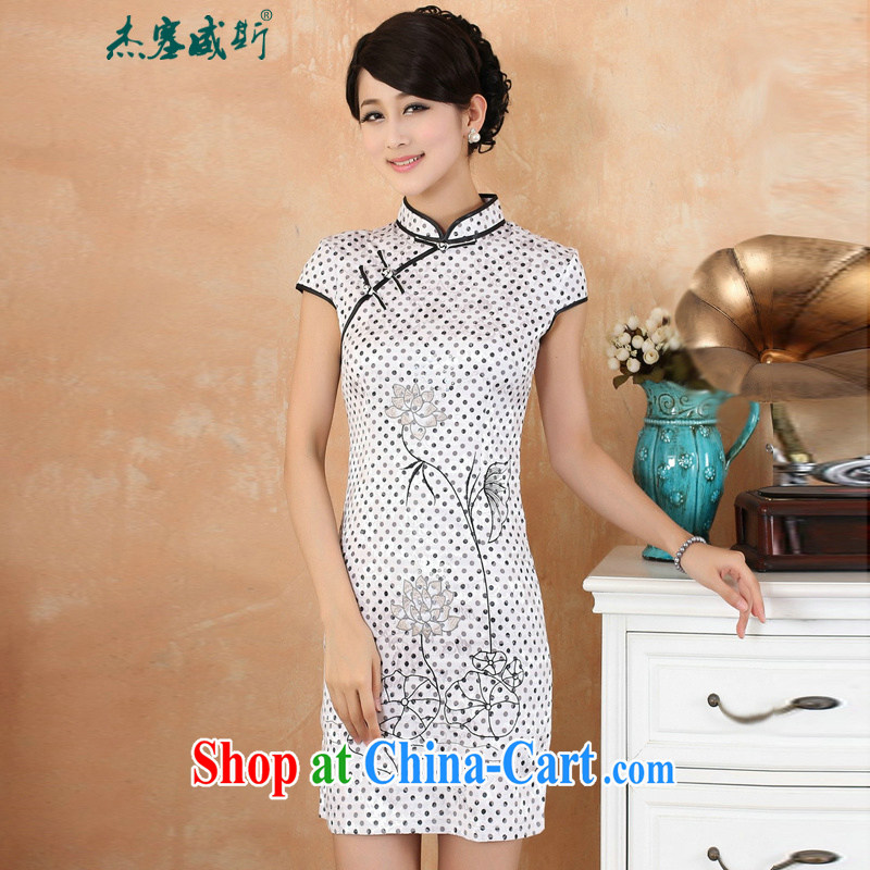 Jessup, 2015 spring and summer women's clothing new improved retro embroidered hand tie beauty dresses dresses Female M 2347 white M