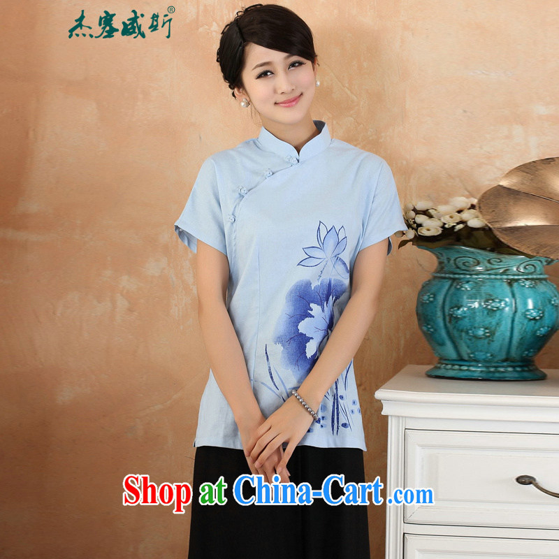 Cheng Kejie, Wiesbaden, 2015 spring and summer women's clothing new cotton the larger Chinese, for the charge-back improvements, served short-sleeved shirt Tang women 2373 M blue XXL