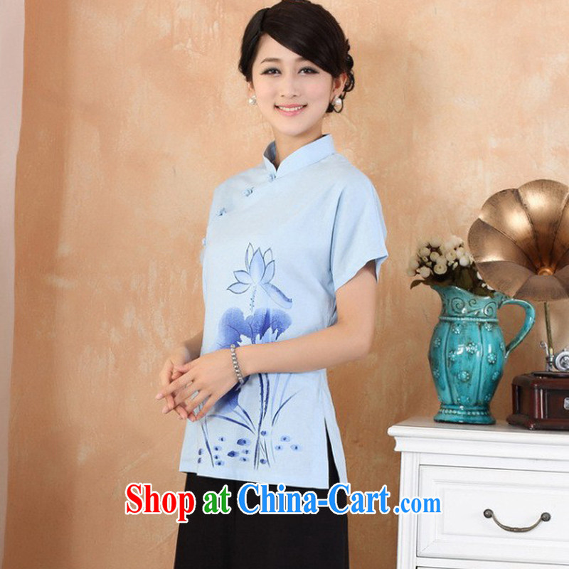 Cheng Kejie, Wiesbaden, 2015 spring and summer women's clothing new units the maximum code Chinese, for the charge-back improvements, served a short-sleeved shirt Tang women 2373 M blue XXL, Jessup, and shopping on the Internet