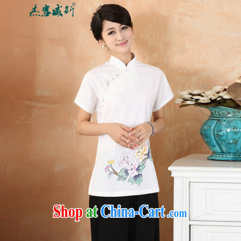 Cheng Kejie, Wiesbaden, 2015 spring and summer women's clothing new cotton the larger Chinese, for the charge-back improvements, served short-sleeved shirt Tang women M 2375 white XXXXL