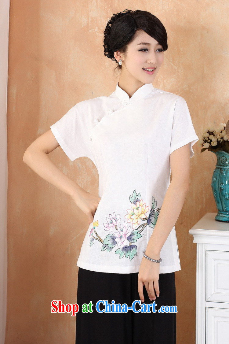 Cheng Kejie, Wiesbaden, 2015 spring and summer women's clothing new cotton the larger Chinese, for the charge-back improvements, served a short-sleeved shirt Tang women M 2375 white XXXXL pictures, price, brand platters! Elections are good character, the national distribution, so why buy now enjoy more preferential! Health