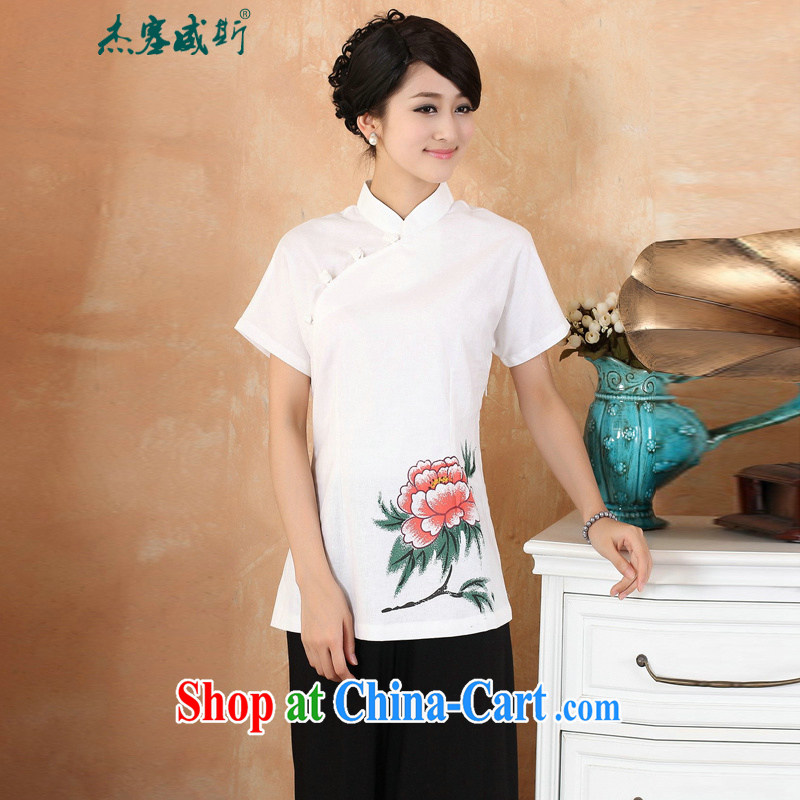 Cheng Kejie, Wiesbaden, 2015 spring and summer women's clothing new cotton the larger Chinese, for the charge-back improvements, served a short-sleeved shirt Tang women M 2376 white XXXXL