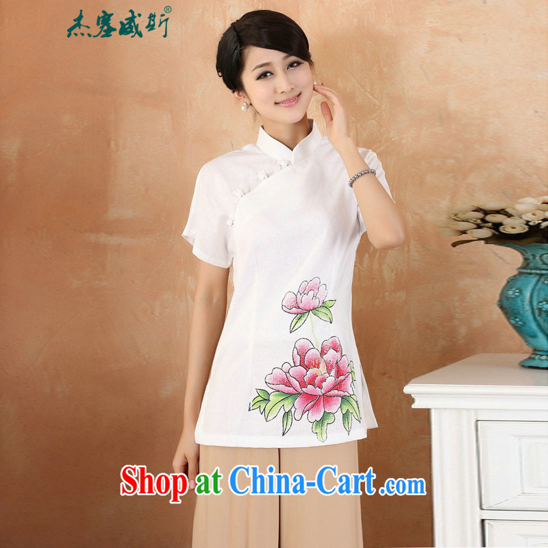Cheng Kejie, Wiesbaden, 2015 spring and summer women's clothing new cotton the larger Chinese, for the charge-back improvements, served a short-sleeved shirt Tang women M 2377 white XXXXL