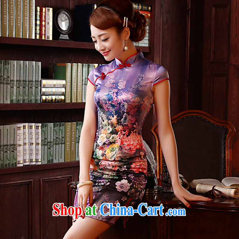 Morning, dresses new 2014 summer retro short-sleeved improved stylish sauna silk silk Chinese qipao dress green 155_S