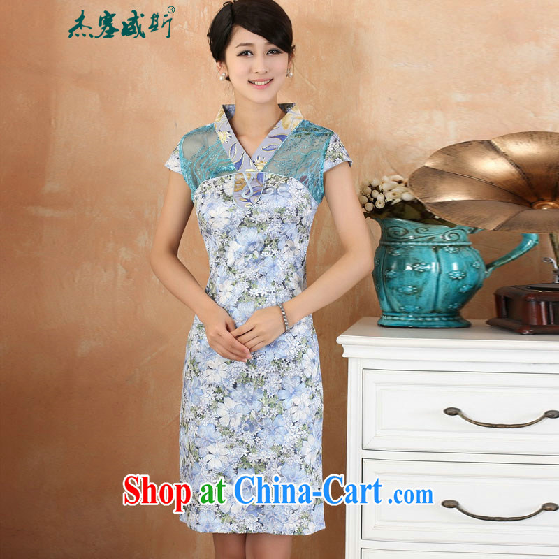 Jessup, 2015 spring and summer new lady elegant refined lace stamp stitching V short-sleeved dresses cheongsam girls M 2209 blue L