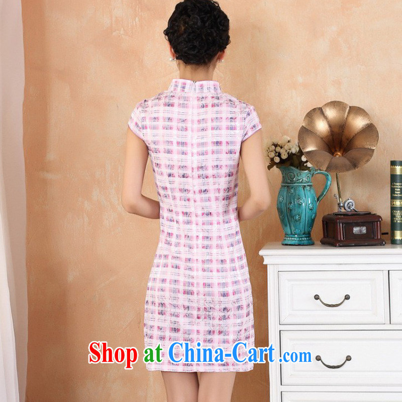 Jessup, 2015 spring and summer women's clothing new retro improved grid stamp small V manually for withholding dresses female Chinese qipao M 2335 figure XXL, Jessup, and shopping on the Internet