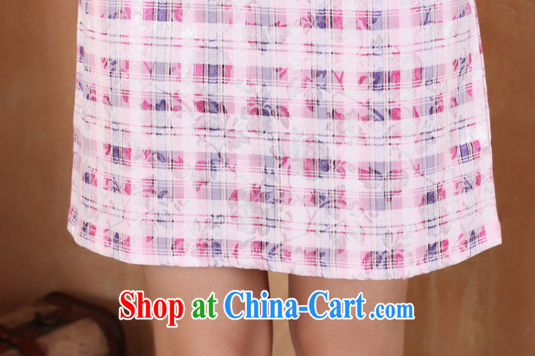 Jessup, 2015 spring and summer dress new retro improved grid stamp small V manually for withholding dresses female Chinese qipao M 2335 figure XXL pictures, price, brand platters! Elections are good character, the national distribution, so why buy now enjoy more preferential! Health