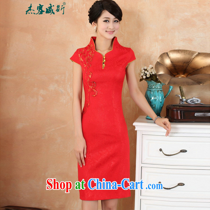 Jessup, 2015 spring and summer dress new stylish and improved embroidered V 3 tablets for short-sleeved dresses dress girls dresses M 2969 red XXL