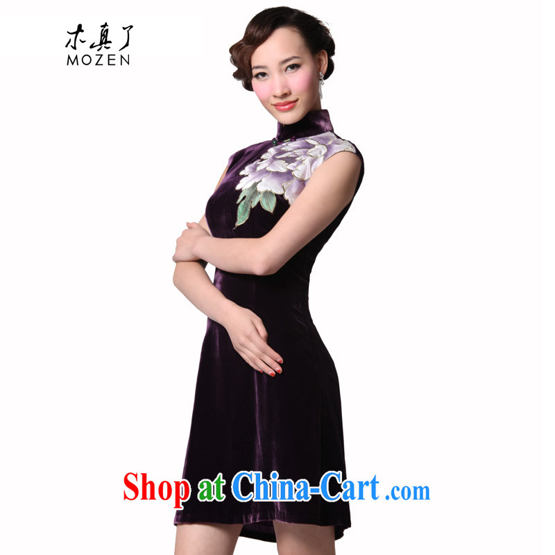 Wood is really the 2015 spring and summer new Chinese silk dress black velvet embroidered improved cheongsam dress style dresses 11,434 16 purple XXXL