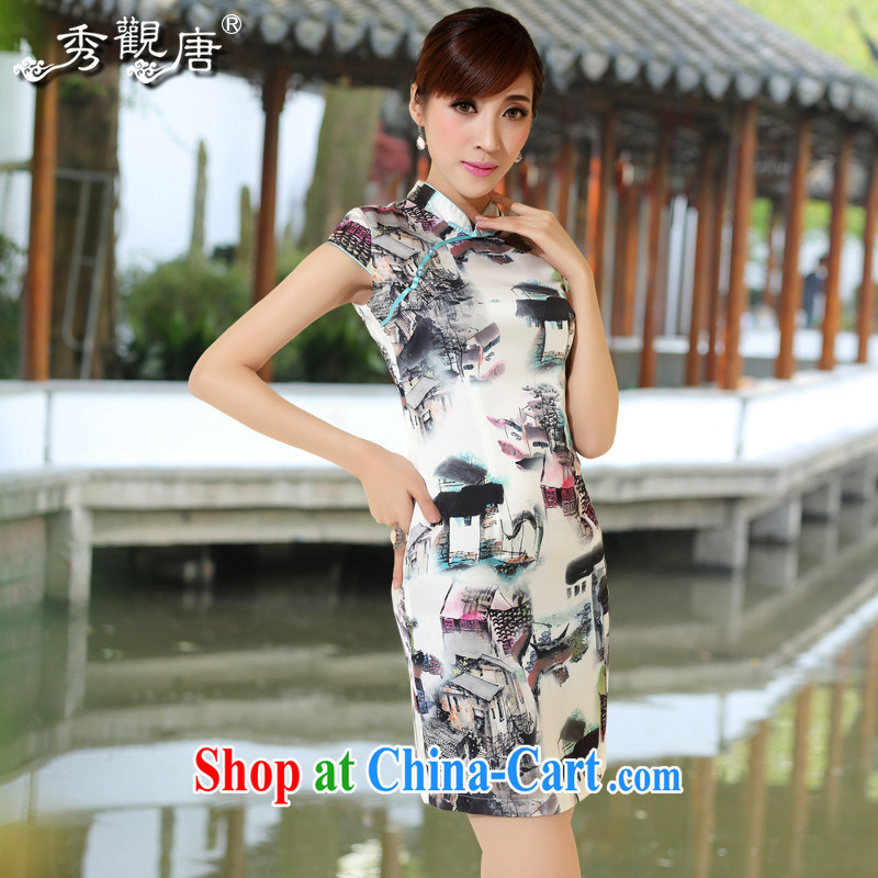 The CYD HO Kwun Tong' Water Village in Gangnam retro stamp outfit 2014 Sau San sexy outfit Ms. QD skirt suit 4125 XXL