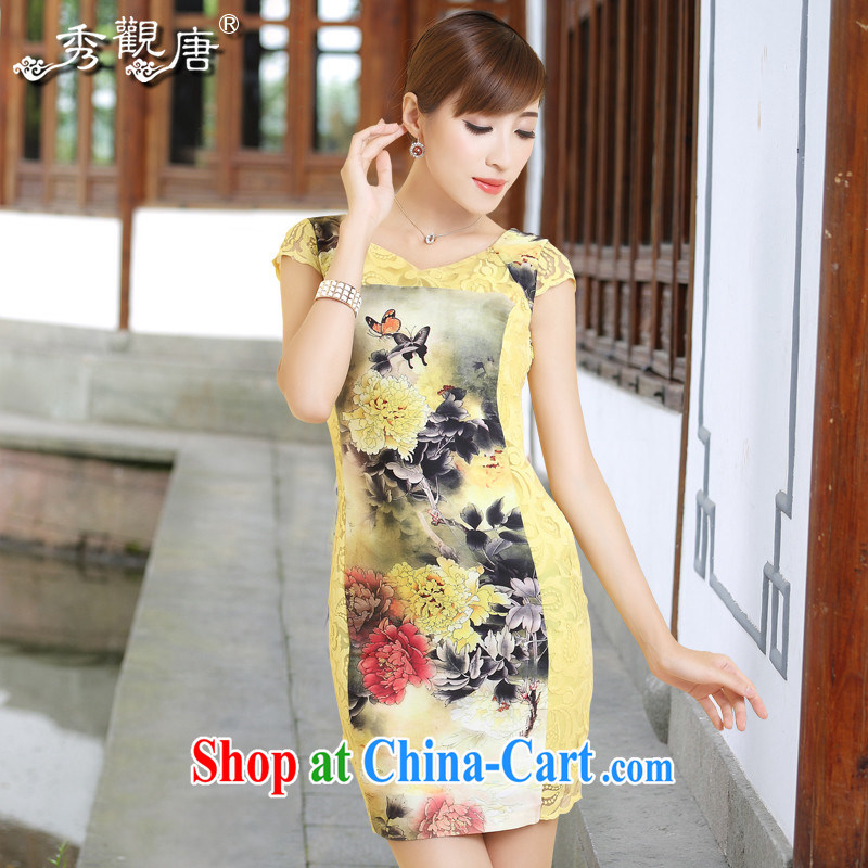 The CYD HO Kwun Tong' core-han 2014 summer new retro stamp female dresses the root yarn cheongsam QD 4318 yellow S