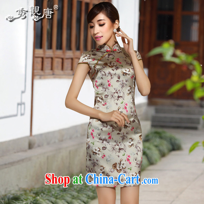 The CYD HO Kwun Tong' debris * 2014 summer floral Silk Cheongsam sauna silk dress retro cheongsam dress QD 4138 fancy XXL