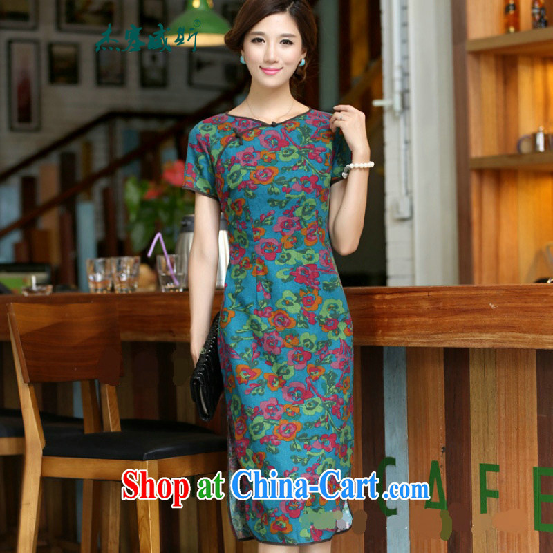 Cheng Kejie, Wiesbaden, 2015 spring and summer women's clothing China wind improved female cotton the round-collar short-sleeve manual buckle long dresses girls dresses CQP once and for all 645 blue-collar XXL