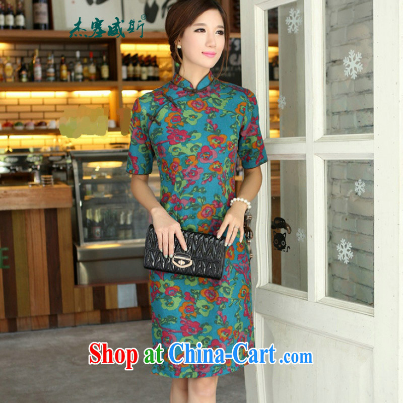 Jessup, 2015 spring and summer China wind female cotton MA, short-sleeved hand and knee long cheongsam dress female QP 701 once and for all, blue collar XL